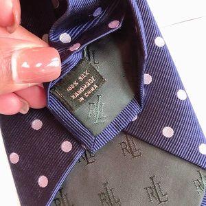 Lauren Ralph Lauren Accessories - Lauren Ralph Lauren Navy Polka Dot Silk Necktie